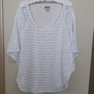 Lucky Brand White Butterfly Sweater Sz Large